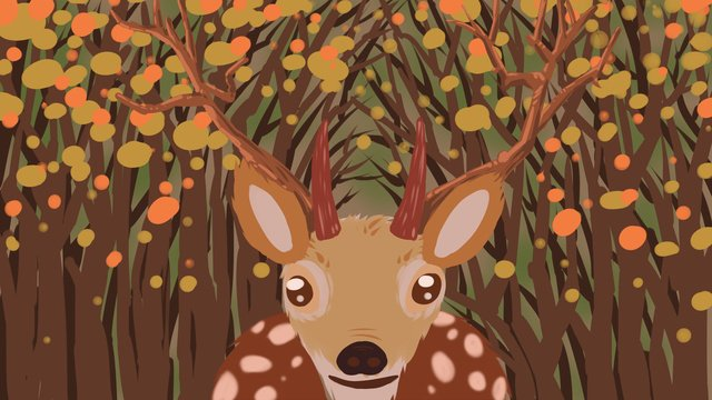 Deep forest and deer original illustration, Forest, Deer, Antlers illustration image