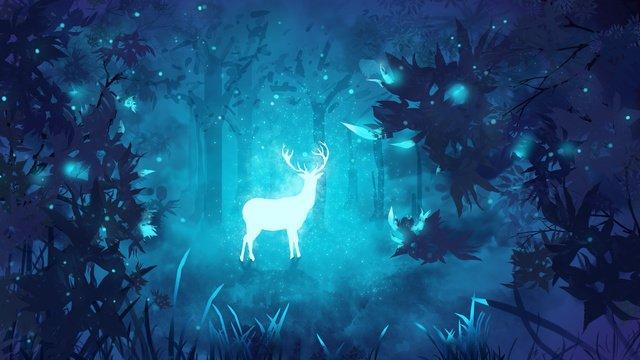 オリジナルイラスト癒し系の森深見鹿 イラスト素材