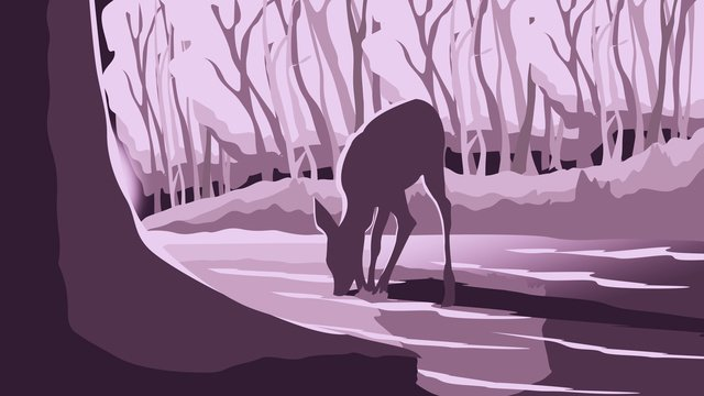 Original illustration of deer in the forest, Forest, Deer, Light illustration image