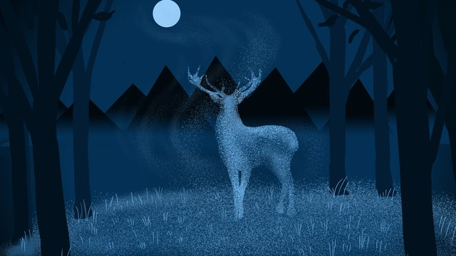 forest deer moon Night, Light Deer, Mountain Range, Blue Tone illustration image