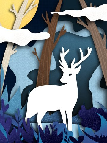 Simple original illustration of forest and deer paper-cut style, Forest, Deer, Tree illustration image