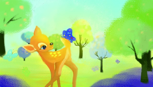 forest Fawn forest Green tree, Grass, Butterfly, Spot illustration image