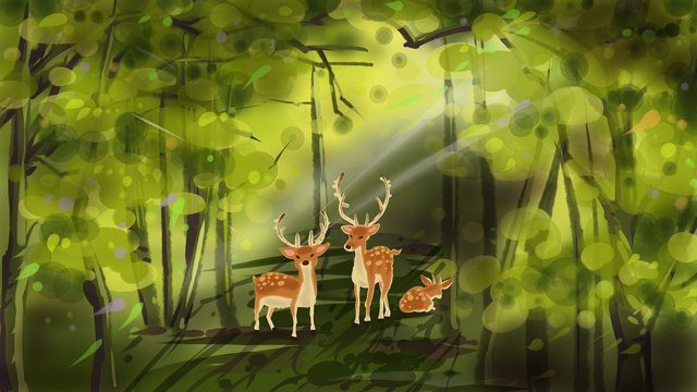 Lin shen sees deer original illustration, Forest, Lin Shen, Deer illustration image