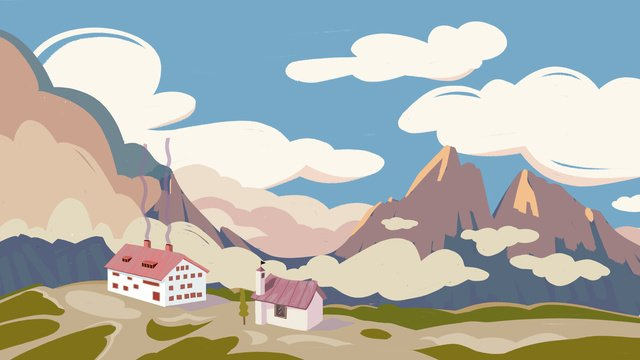 Fresh Bright Blue sky and white clouds mountain, House, In The Mountains, Blue Sky illustration image