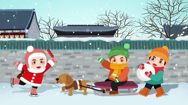 신선한 겨울 장면 스키 그림 삽화 소재 삽화 이미지