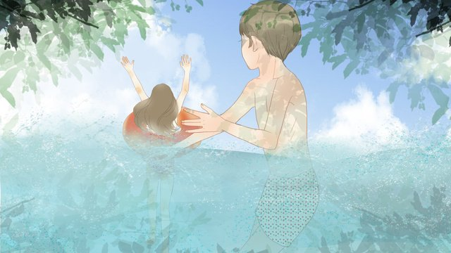 Children playing in the sea on a fresh summer day llustration image illustration image