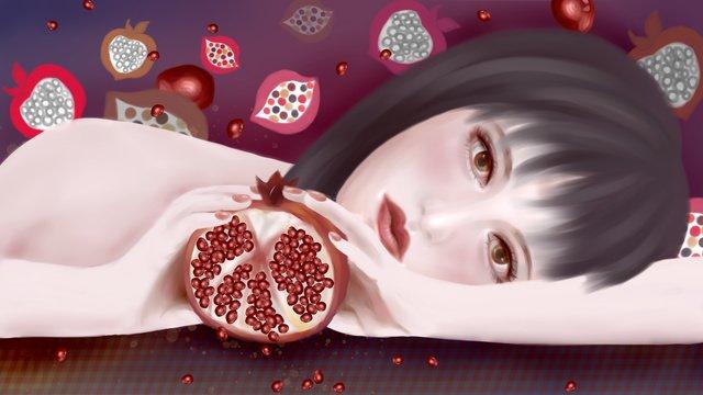 여름 과일 시리즈의 석류 여아는 신선하고 독창적입니다 삽화 소재