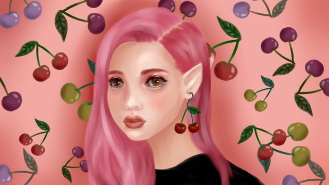 Summer fruit series of exaggerated cherry girls llustration image illustration image