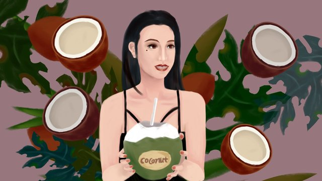 Dark skinned tropical coconut girl in summer fruit series, Friend Circle Map, Phone Wallpaper, Computer Wallpaper illustration image
