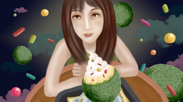 summer fruit series love fantasy hami melon ice cream girl Hình minh họa Hình minh họa
