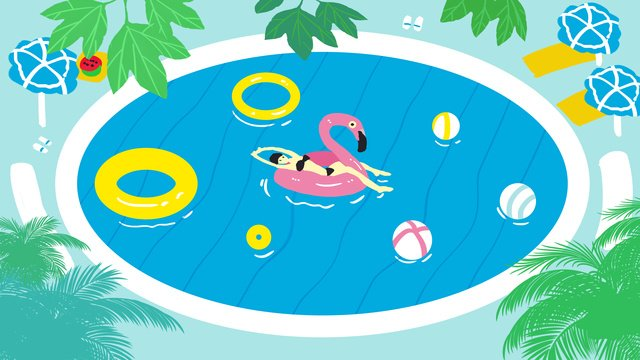 teenage girl swimming in the pool llustration image