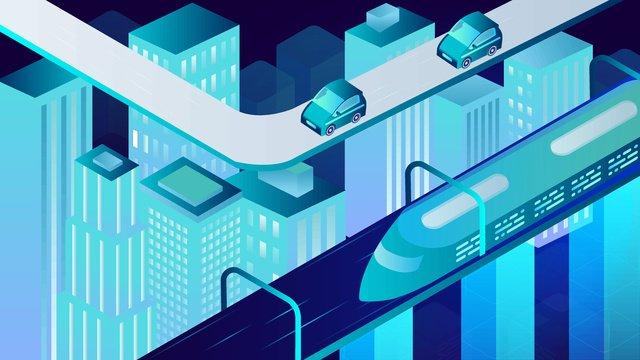 未來城市懸浮動車透氣感2 5d矢量插畫 插畫素材 插畫圖片