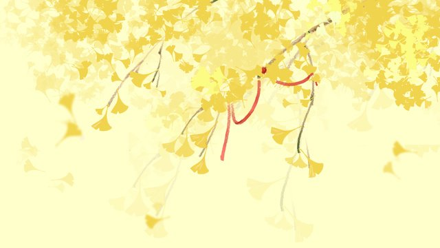 Ginkgo biloba leaves landscape illustration, Ginkgo Biloba, Leaves, Landscape illustration image