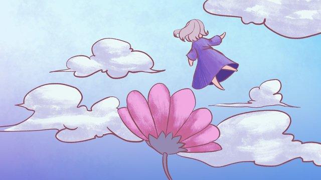 소녀와 꽃 꿈꾸는 그림 삽화 소재 삽화 이미지