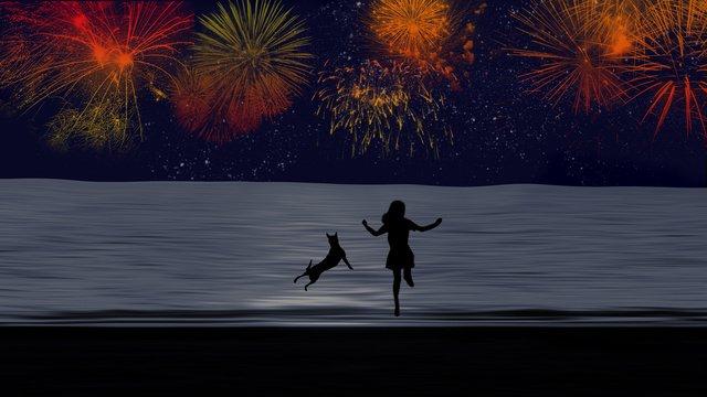 소녀와 강아지 밤하늘 불꽃 놀이 삽화 소재 삽화 이미지
