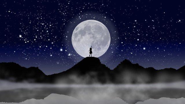 少女と月の夜空の図 イラスト素材