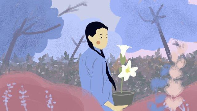 ユリの女の子を保持している共和国の学生 イラスト素材 イラスト画像
