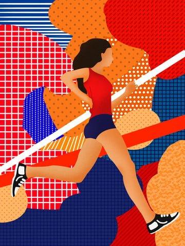 遊走的夢跑步的女孩插畫 插畫素材