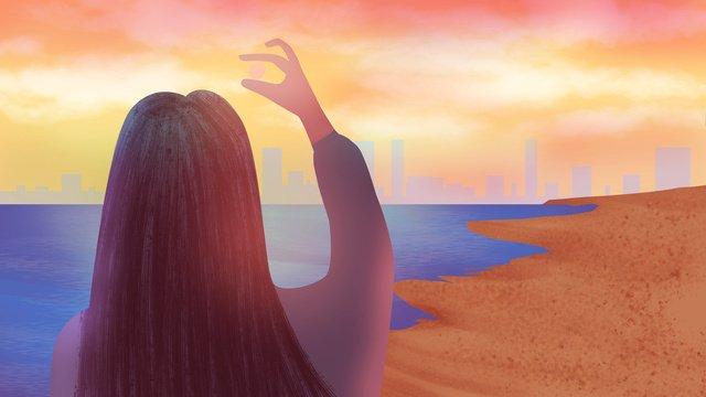 girl Sunset dream dream, Sunset Illustration, Back View, Seaside illustration image
