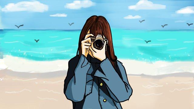 夏のビーチ砂浜selfieの女の子イラストポスター イラストレーション画像