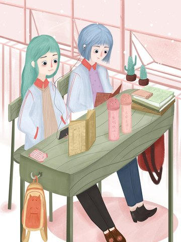 girlfriends everyday school girls at the table with headphones listening to music small fresh and beautiful llustration image