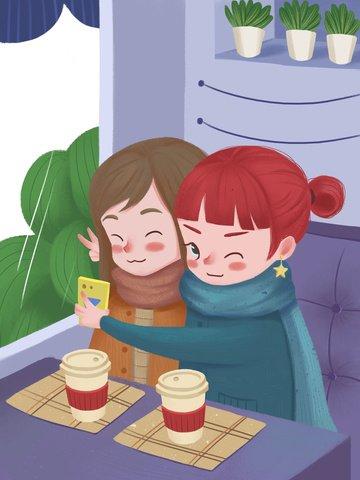 honeymoon tea time shop selfie illustration image