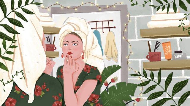 good morning girl illustration for mirror makeup llustration image illustration image