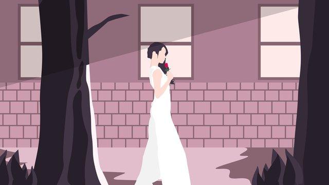Illustration of the girl who got up early in corner, Good Morning, Girl, Tree illustration image
