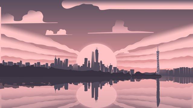 插畫早安你好早晨的廣州都市 插畫素材 插畫圖片