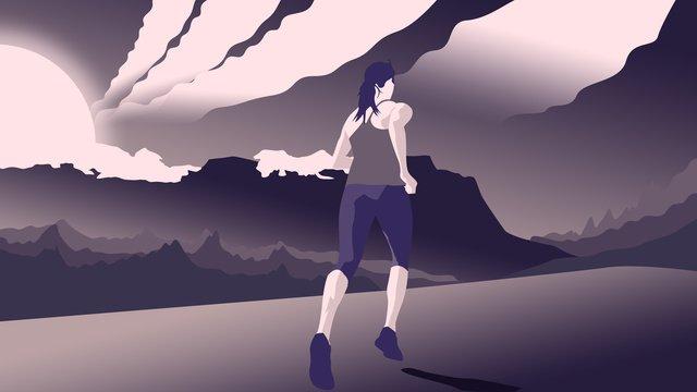 原創插畫早安你好早晨跑步鍛煉的少女 插畫素材