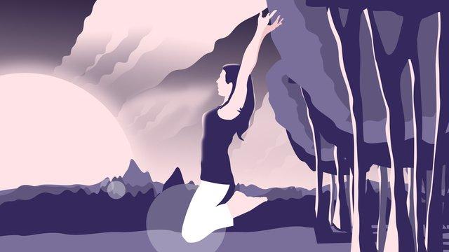原創插畫早安你好跑步的少女 插畫素材