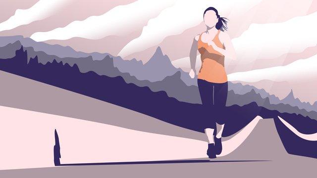 Original illustration good morning hello the girl who runs in great wall, Good Morning, Run, Mountain illustration image