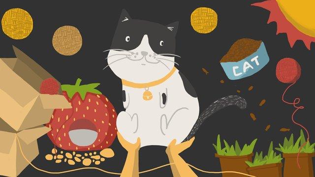 Good night cat illustration, Good Night, Cat, Cat Nest illustration image
