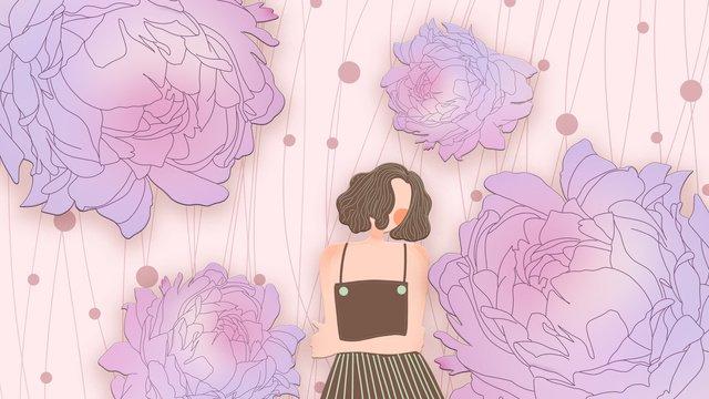 Good night girl and peony romantic pink dream, Good Night, Day Sign, Teenage Girl illustration image
