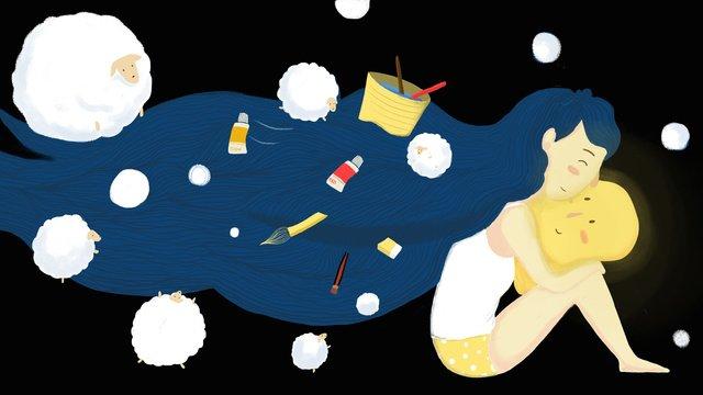Good night my dream little girl illustration, Good Night, Dream, Drawing illustration image
