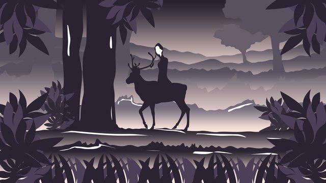插畫晚安你好治愈系森林與鹿 插畫素材