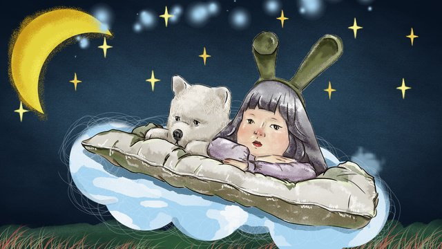Good night hello series insomnia little girl, Good Night, Hello, Girl illustration image