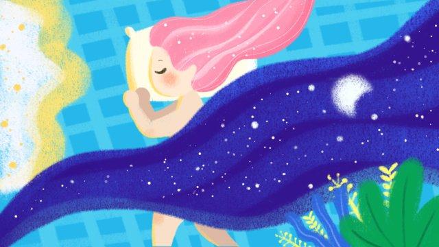 Good night girl, Good Night, Hello There, Hello illustration image