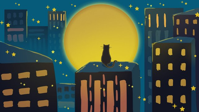Good night kitten and moon, Good Night, Hello There, Mobile Phone With Picture illustration image