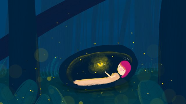 Little aurora tour firefly butterfly goodnight illustration, Good Night, Hello There, Mobile Phone With Picture illustration image