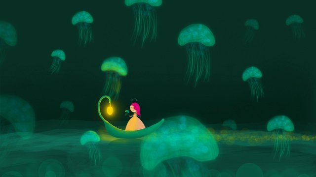 Xiao ling dream tour jellyfish goodnight healing illustration, Good Night, Hello There, Mobile Phone With Picture illustration image