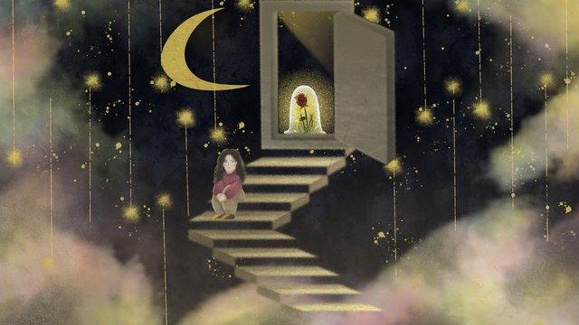 Good night quiet hello, Good Night, Hello There, Starry Sky illustration image
