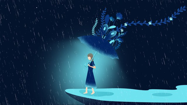 World good night rain illustration, Good Night, Night Rain, Girl illustration image