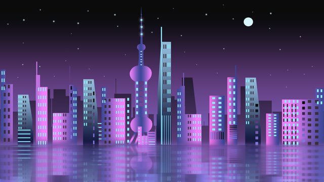 gradient city night travel shanghai oriental pearl goodnight xin chào poster Hình minh họa