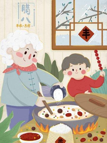 Warm winter grandma and children cook together to make laba porridge llustration image