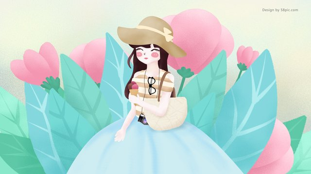 Original illustration big summer flower girl eating ice cream, Great Heat, Flower, Girl illustration image
