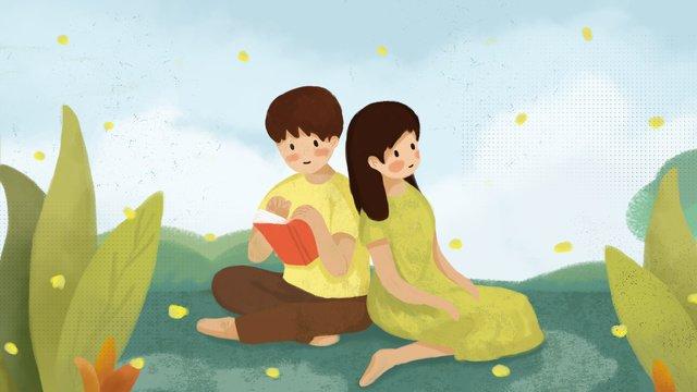 グリーンバレンタインデーロマンチックなカップルの小さな新鮮な休日イラスト イラストレーション画像