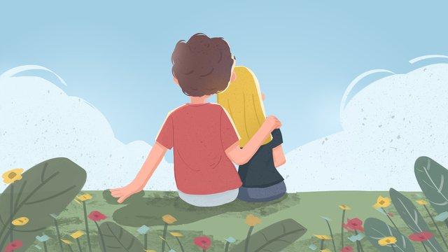 空のロマンチックな甘い背中を見て草をしている緑のバレンタインデー イラスト素材 イラスト画像