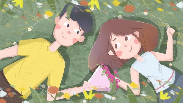 green valentines day romantic sweet send flowers love couple llustration image illustration image