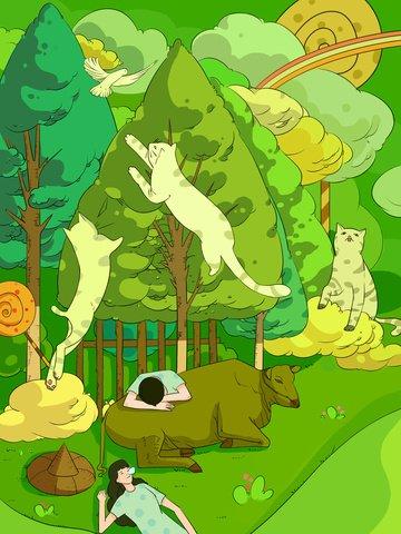 グリーンウォームキュア幼年期ファンタジートレンドイラスト イラストレーション画像 イラスト画像